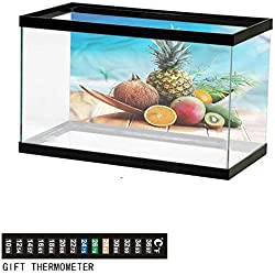 """bybyhome Fish Tank Backdrop Fruits,Juicy Healthy Tropic Food,Aquarium Background,24"""" L X 24"""" H(61x61cm) Thermometer Sticker"""
