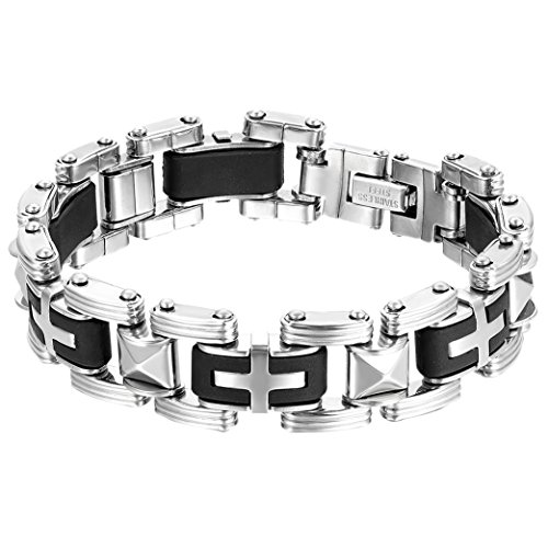 Oidea Mens Stainless Steel and Rubber Gothic Religious Cross Biker Bracelet,Silver and Black,8.5 Inch