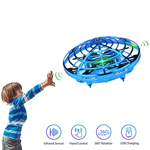 Lumsburry Mini Drone for Kids, Flying UFO Toy Infrared Sensor Induction Hand Control Quadcopter 360 Degree Rotation with Coloring LED Lights (Blue)