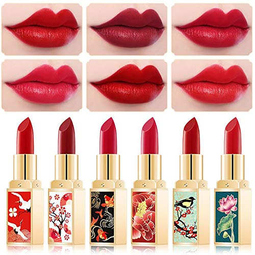 Ownest 6 Colors China style Matte Lipstick Set, Long Lasting Moisturizing Non-Marking, Waterproof Non-Stick Cup Palace Style Rouge Lipstick