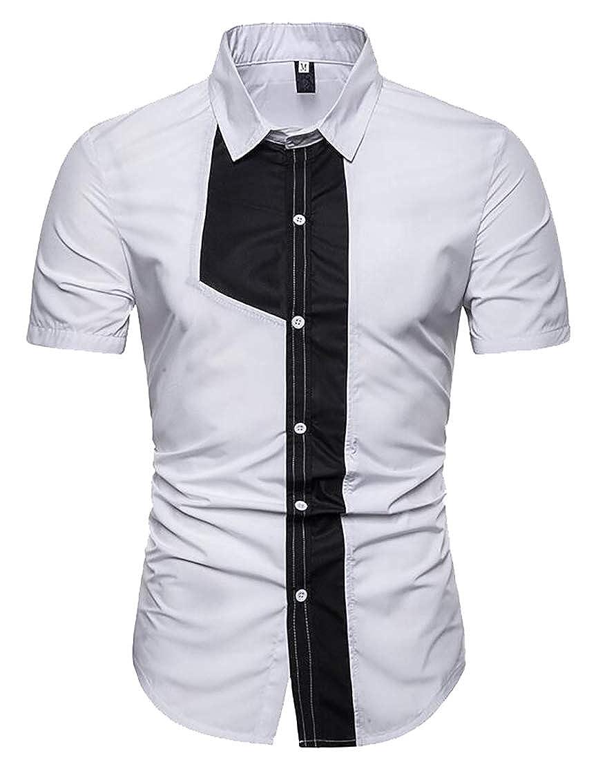 Generic Mens Fashion Short Sleeve Color Block Button Down Dress Shirts