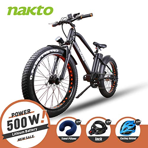 NAKTTO 26 500W Electric Bicycle Fat Tire Mountain EBike 6 Speeds Gear, Removable 48V12A Lithium Battery Smart Multi Function LED Display - with 48V12A Lithium Battery