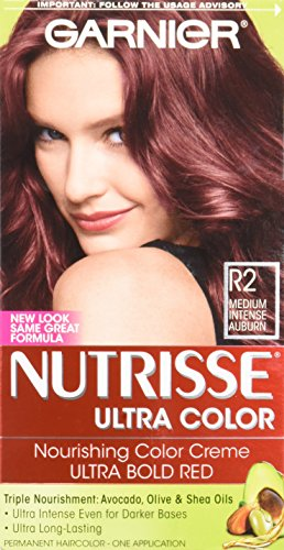 Garnier Nutrisse Ultra Color Nourishing Hair Color Creme, R2 Medium Intense Auburn (Packaging May - Hair Auburn Color Garnier