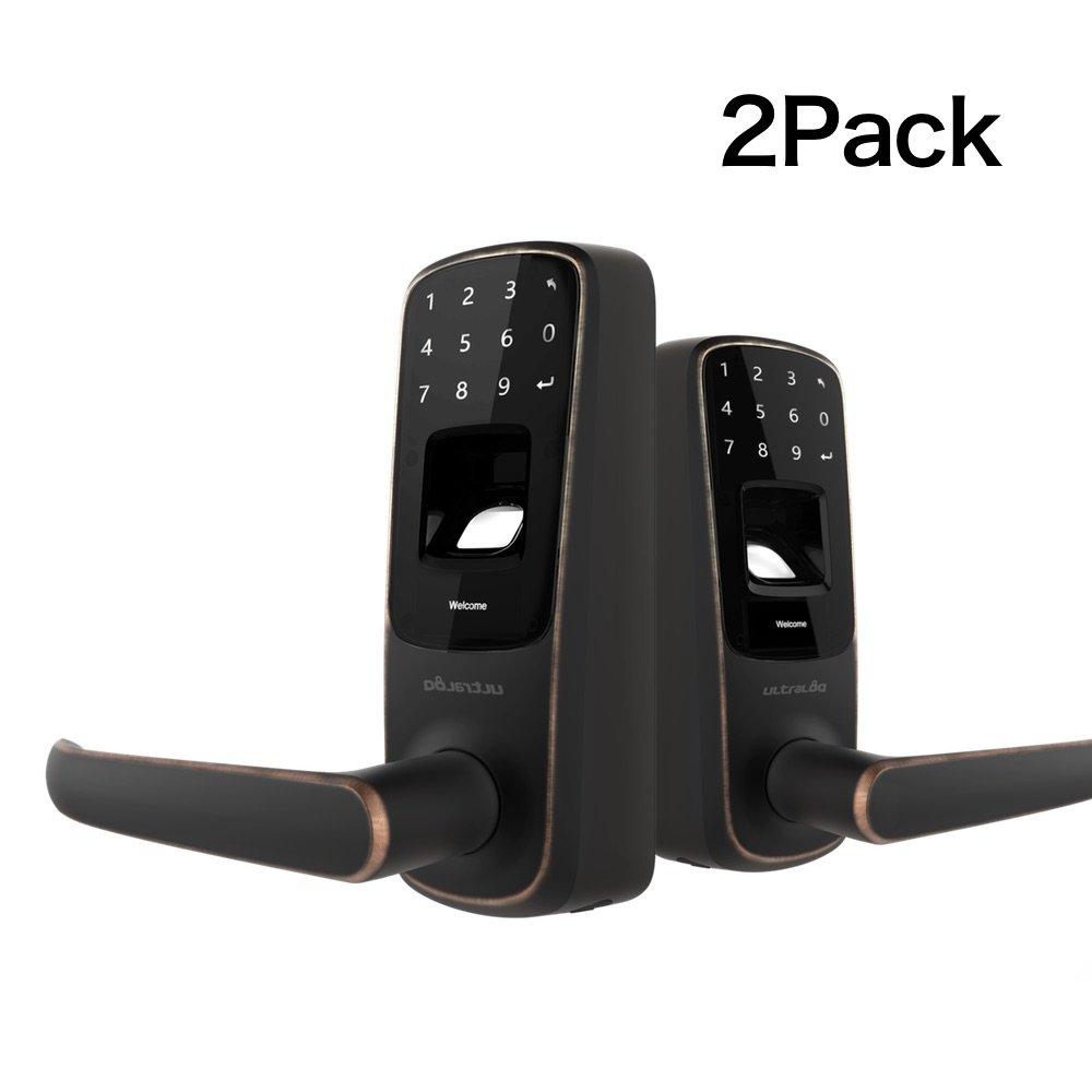 2 Pack Ultraloq UL3 Fingerprint And Touchscreen Keyless Smart Lever Door Lock (Aged Bronze)