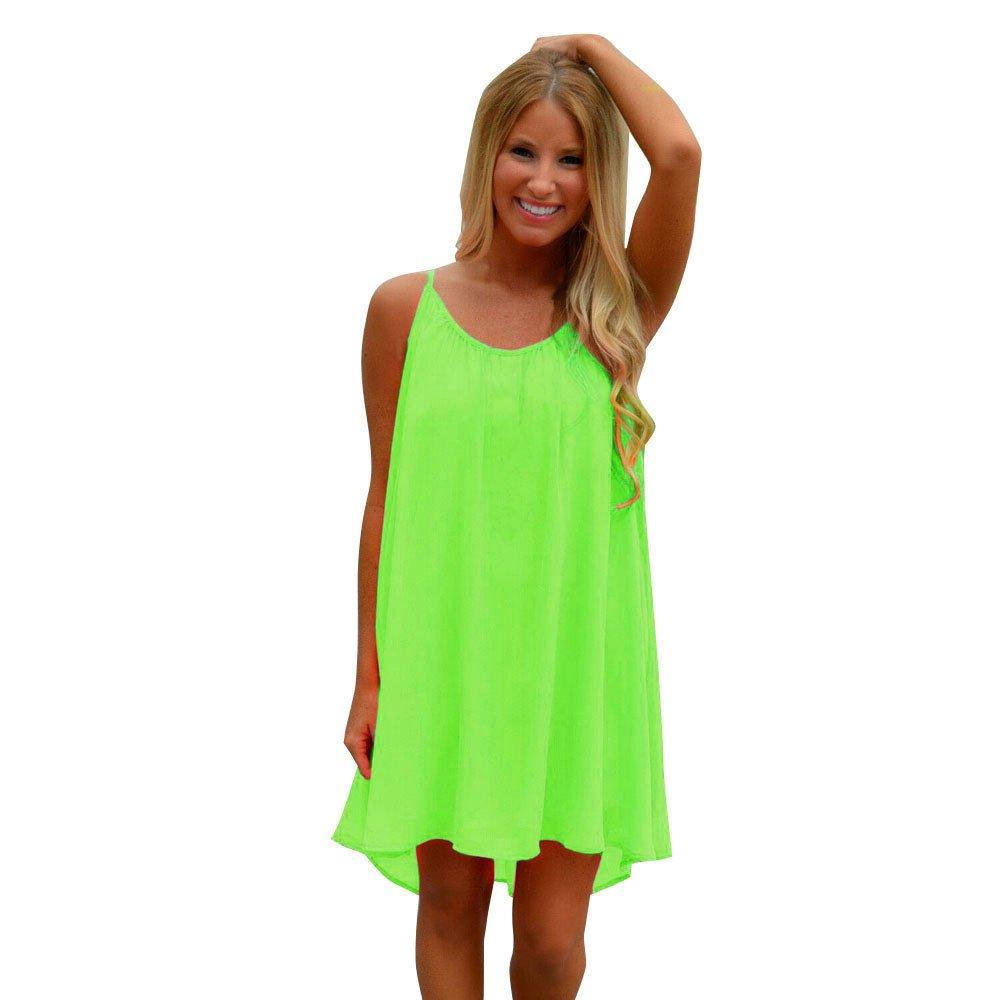 Chaofanjiancai_Dress Womens Spaghetti Strap Back Howllow Out Chiffon Beach Short Dress Solid Loose Casual Dress Green
