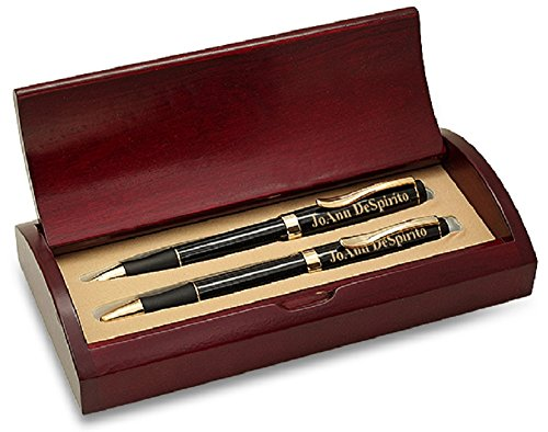 Executive Gift Shoppe | Personalized Executive Pen & Pencil Set | Black Lacquer Ballpoint Pen & Mechanical Pencil | Free Custom Engraving | Perfect Business Gift | Rosewood Presentation Box ()