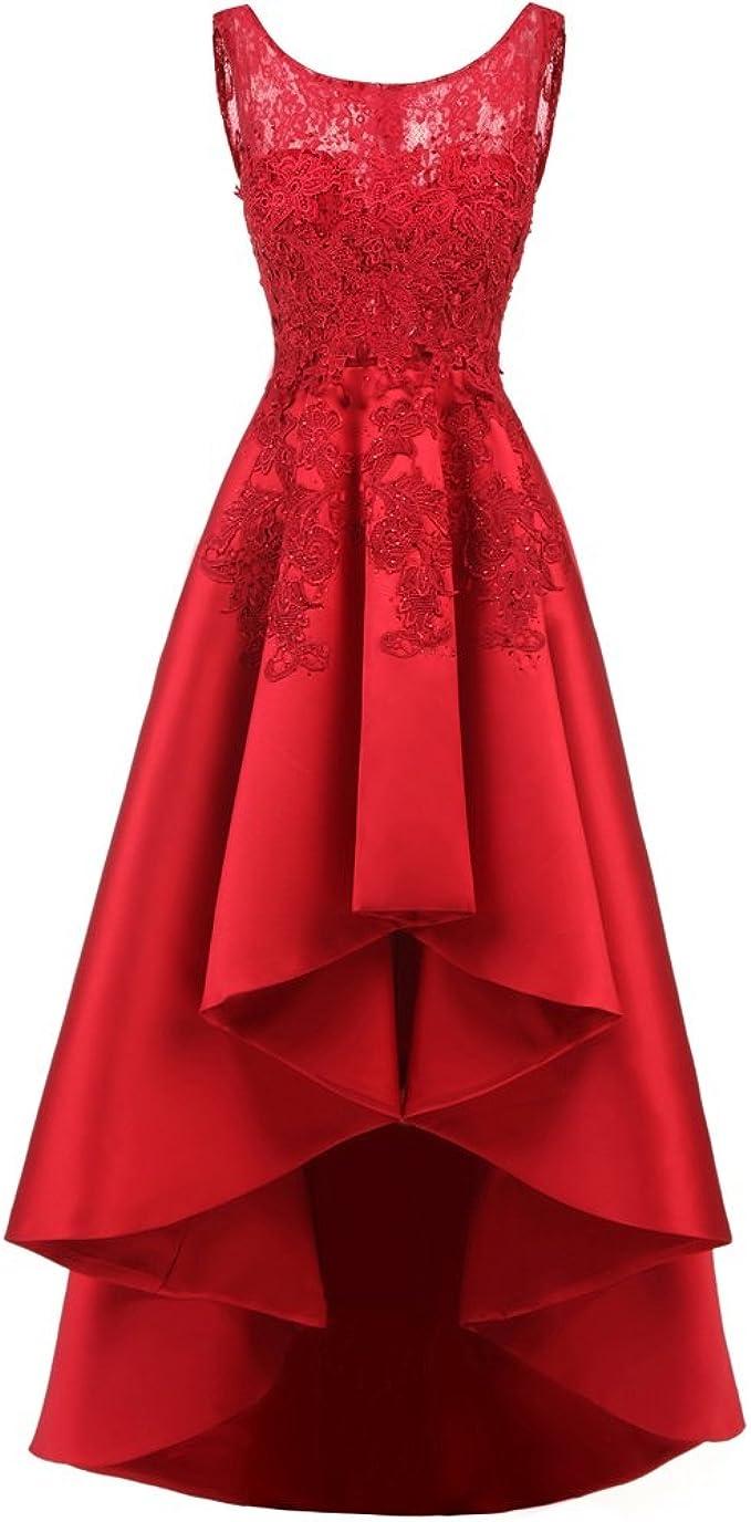 Hochzeit Kleid für Frauen Schnüren Lange Vorderseite Kurze Rückseite Party  Abendkleid Ärmellos Brautjungfer Anlass Kleidung