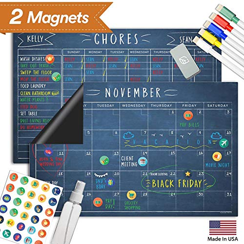 Magnetic Chalkboard Reward Chore Chart - Black Dry Erase Refrigerator Responsibility Incentive Chart - Multiple Kid Chart System w/Bonus Reusable Monthly Calendar - 17