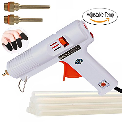 Hot Glue Gun Melt Adjustable High and Low temp 100W with 3pcs 3.0mm Interchangeable Nozzles (Length: 30/50/70mm) 10pcs glue stick 5pcs finger cap by Kangyijia