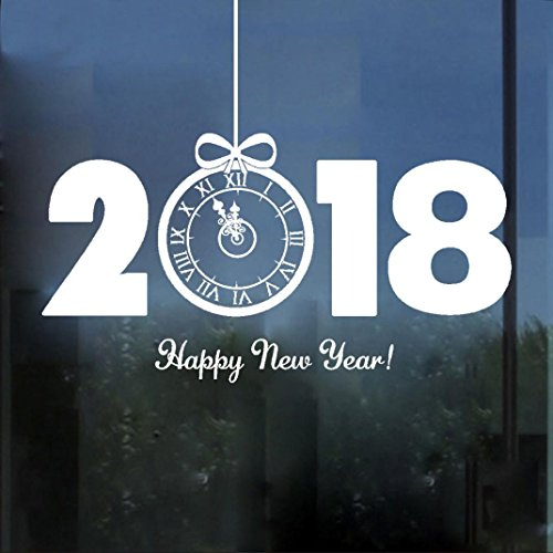 Christmas Wall Stickers, Boomboom 2018 Happy New Year Merry Christmas Wall Stickers Home Shop Windows Decor (White)]()