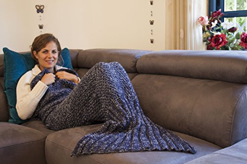True Koala 71x32-Inch Warm Mermaid Tail Blanket Handmade with Canvas Carrying/Storage Bag, Dark (Halloween Costume Ideas Made From Home)