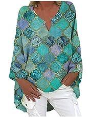 Camiseta regata feminina de algodão e linho, plus size, gola V, manga comprida, estampa xadrez de verão, plus size