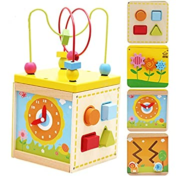 Frealm 5 In 1 Educational Toy Multifunctional Wooden Activity Center With  Bead Maze Cube Playset For