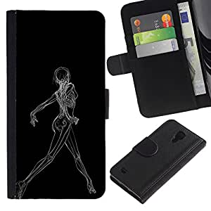 MobileX / Samsung Galaxy S4 IV I9500 / Sexy Woman X Ray Skeleton / Cuero PU Delgado caso Billetera cubierta Shell Armor Funda Case Cover Wallet Credit Card
