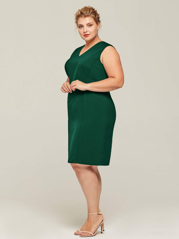 Alicepub Women\'s V-Neck Plus Size Dress Sleeveless Sheath Casual Work Party  Dresses, Dark Green, Custom Size