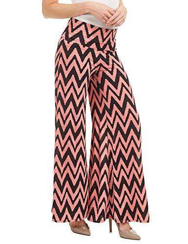(WB1195 Womens Polka Dot Print Wide Leg Lounge Pants M CHEV_Coral)