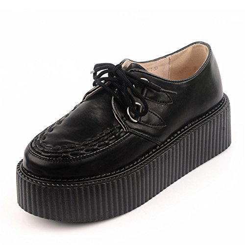 RoseG Femmes Cuir Noir Lacets 19955 Plate Forme Creepers Gothique Punk Creepers Chaussures Noir 27a7d4d - therethere.space