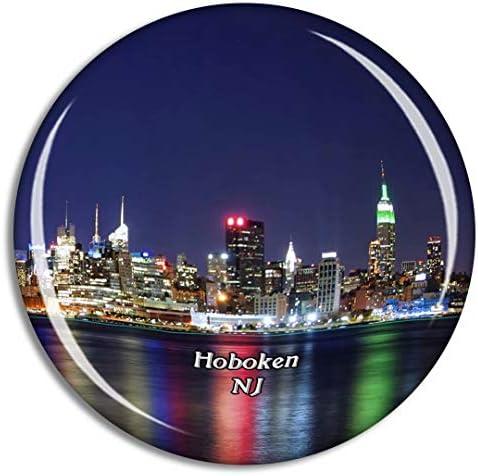 ホーボーケンウォーターフロントウォークウェイニュージャージー米国冷蔵庫マグネット3Dクリスタルガラス観光都市旅行お土産コレクションギフト強い冷蔵庫ステッカー