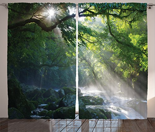 Ambesonne Green Curtains Rainforest Decorations by, Stream in The Jungle Stones with Shadows of Trees Sunlight Mother Earth Theme, Living Room Bedroom Decor, 2 Panel Set, 108 W X 84 L Green White ()