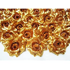 "(100) Silk Gold Roses Flower Head - 1.75"" - Artificial Flowers Heads Fabric Floral Supplies Wholesale Lot for Wedding Flowers Accessories Make Bridal Hair Clips Headbands Dress 1"