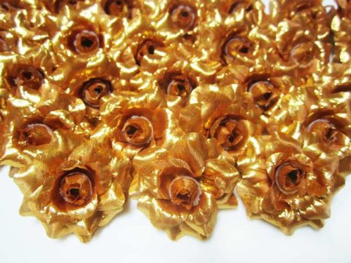 (100) Silk Gold Roses Flower Head - 1.75 - Artificial Flowers Heads Fabric Floral Supplies Wholesale Lot for Wedding Flowers Accessories Make Bridal Hair Clips Headbands Dress
