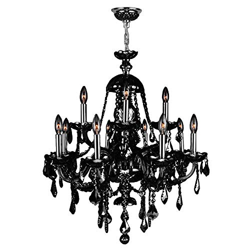 Worldwide Lighting Provence Collection 12 Light Chrome Finish and Black Crystal Chandelier 28
