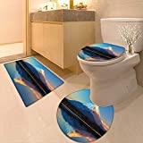 Printsonne Lid Toilet Cover East Nature Decor Collection Mount Fuji Lake Shoji Picture Clear Sky Sunset Personalized Durable