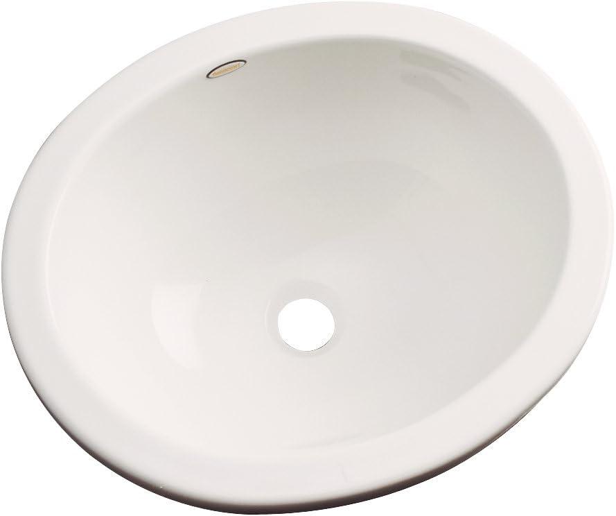"Dekor Sinks 68002 Victoria Cast Acrylic undermount Oval Bathroom sink, 14.5"" L x 12"" W x 6.25"" H, Almond"