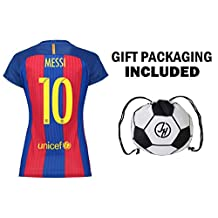 JerzeHero Barcelona Messi #10 Women's Soccer Jersey Gift Set ✓ Soccer Jersey ✓ Shorts ✓ Drawstring Bag ✓ Home or Away ✓ Short Sleeve or Long Sleeve