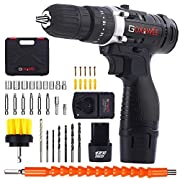 #LightningDeal Cordless Drill with 2 Batteries - GOXAWEE Electric Screw Driver Set 100pcs with Hammer Function (12V, 18+3 Torque Setting, 30Nm, 3/8 inch Auto Chuck, 2-Speed) for Home Improvement & DIY Project