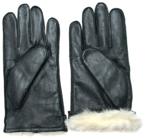 Fownes Men's Rabbit Fur Lined Black Napa Leather Gloves-L