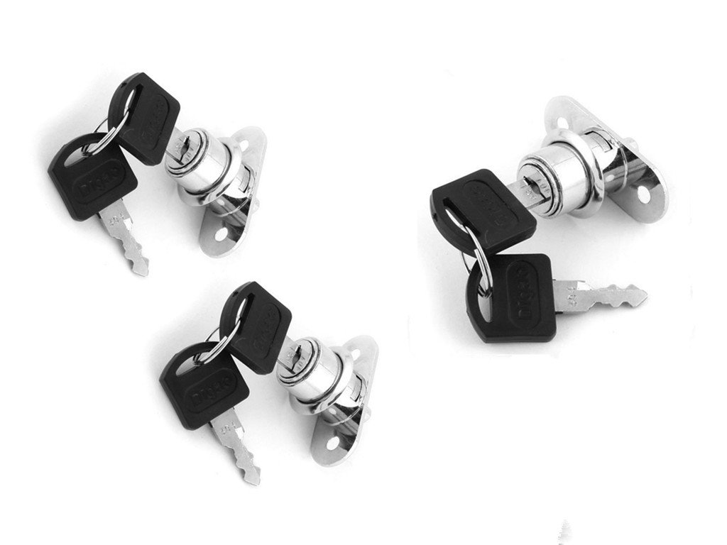 XMHF Drawer Showcase Door 19mm Cylinder Head Metal Plunger Lock Silver Tone 3 Pcs