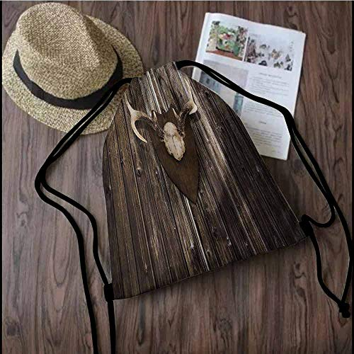- Antler Decor Easy to carry drawstring backpack Rustic Home Cottage Cabin Wall with Antlers Hunting Lodge Country House Trophy Durable Drawstring Backpack W13.8 x L17.7 Inch Brown