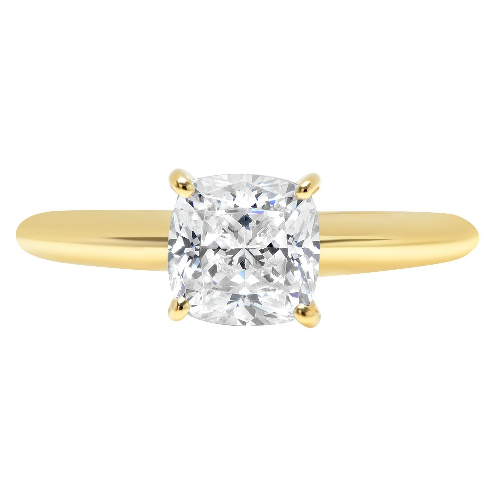0.9ct Cushion Brilliant Cut Classic Solitaire Designer Wedding Bridal Statement Anniversary Engagement Promise Ring Solid 14k Yellow Gold, 10
