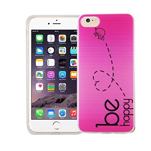 König-Shop Handy Hülle für Apple iPhone 7 Cover Case Schutz Tasche Motiv Slim Bumper TPU + 9H Panzerglas Motiv Be Happy Pink
