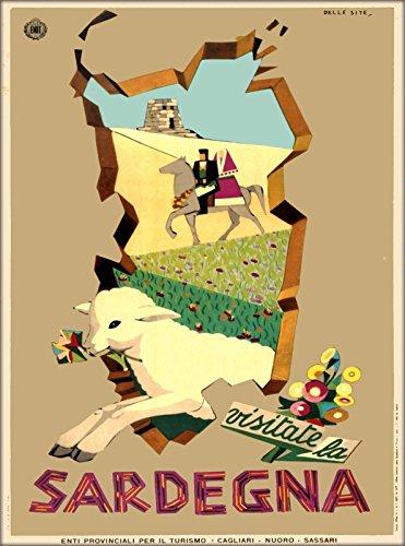 MAGNET Sardegna Sardinia Island Italy Italian Europe Vintage Travel Art Magnet Print