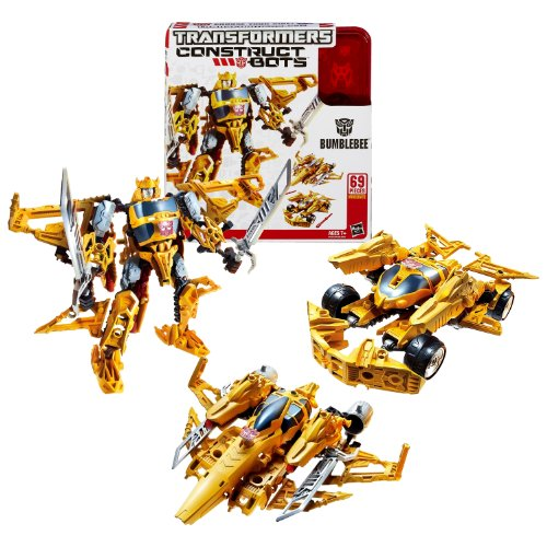 Hasbro Year 2013 Transformers Construct-Bots Series 6 Inch Tall Triple-Changers Class Robot Action Figure Set #E1:01 - Autobot BUMBLEBEE with Alternative Mode as Race Car or Fighter Jet (Total Pieces: 69)