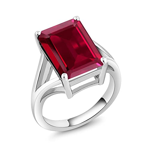 Gem Stone King 8.00 Ct Emerald Cut Created Ruby 925 Sterling Silver Solitaire Ring Available 5,6,7,8,9