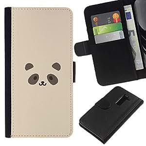 All Phone Most Case / Oferta Especial Cáscara Funda de cuero Monedero Cubierta de proteccion Caso / Wallet Case for LG G2 D800 // Cute Panda Face