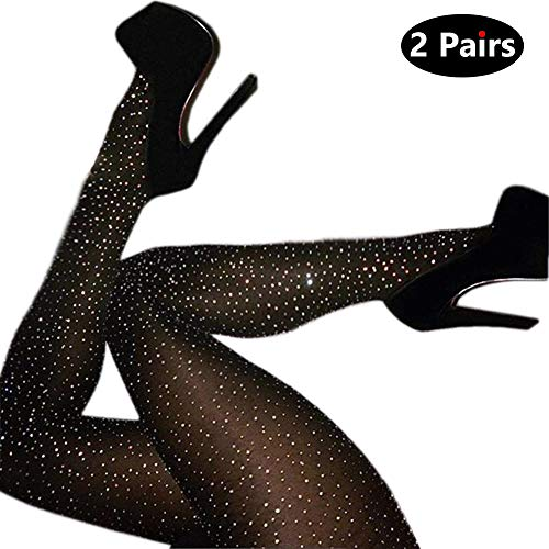 2 Pairs Women's Sheer Control Top Pantyhose With Sparkle Rhinestone ()