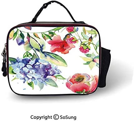 Art Insulated Lunch Bag Summer Flowers Branch Bloom Beauty of Flourishing Season Nature Botany Watercolor Print Decorative Soft Liner Lunch Bags,10.6x8.3x3.5 inch,Multicolor
