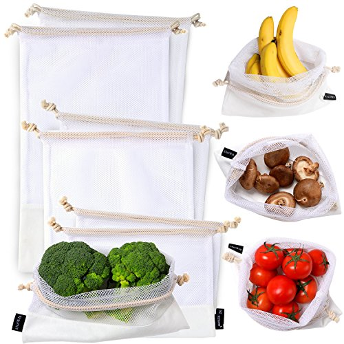NZ Home Reusable Mesh Produce Bags, Cotton Drawstrings, See Through, Washable, Tare Weight, 6 Pack (Mix)