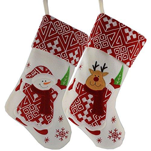 Wewill Classic Christmas Stockings Set of 2 Santa, Snowman Xmas Character 17 inch (Style 4) (Xmas Stocking Kit)