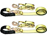 DKG-097 2'' x 8' Axle Strap Ratchet Tie Down with Snap Hook -Extreme Strength Ratcheting Tension Car Carrier Straps – Car Hauler Trailer Snap Hook Ratchet (2 Pack)
