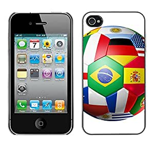 Print Motif Coque de protection Case Cover // V00001674 equipos del mundo de fútbol balón // Apple iPhone 4 4S 4G