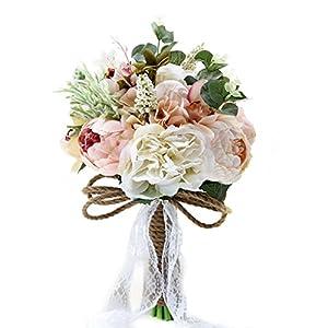 Bridal Hold Wedding Bouquet Rose Peony Dahlia Artificial Flowers Wedding Party Home Decor 37
