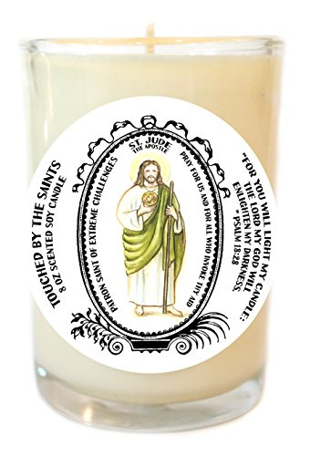 St Jude Apostle of Extreme Challenges 8 Oz Scented Soy Glass Prayer Candle by Touched By The Saints