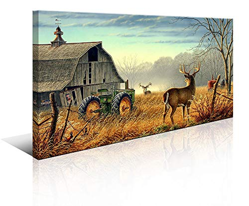 Large Deer Wall Art for Living Room Canvas Prints Decor Decoration Country Tractor Rustic Wildlife Cabin Hunting Picture Glass Surface Artwork Ready to Hang for Bedroom Home Office 24x48 (Country Pictures Living Room)
