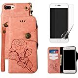 For iphone 7 Plus/iphone 8 Plus Wallet Case with Screen Protector ,OYIME [ Elegant Vintage Rose ] Classic Design Flip Bookstyle Leather Holster with Wrist Lanyard Kickstand Magnetic Card Slots Function Full Body Protective Cover - Pink