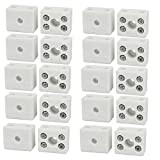 DealMux 250V 10A 2 Position 5 Hole Ceramic Terminal Blocks Wire Connectors 20pcs